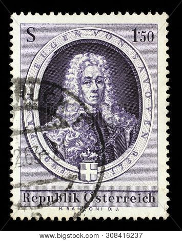 ZAGREB, CROATIA - SEPTEMBER 09, 2014: A stamp issued in the Austria shows the 300th Anniversary of Prince Eugene of Savoy (1663-1736) army leader and statesman, circa 1963.