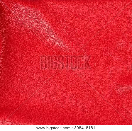 Texture Of Red Natural Cowhide With Bends, Full Frame