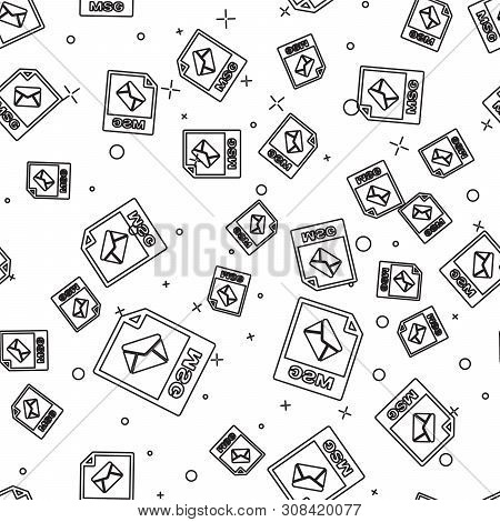 Black Msg File Document Icon. Download Msg Button Icon Isolated Seamless Pattern On White Background