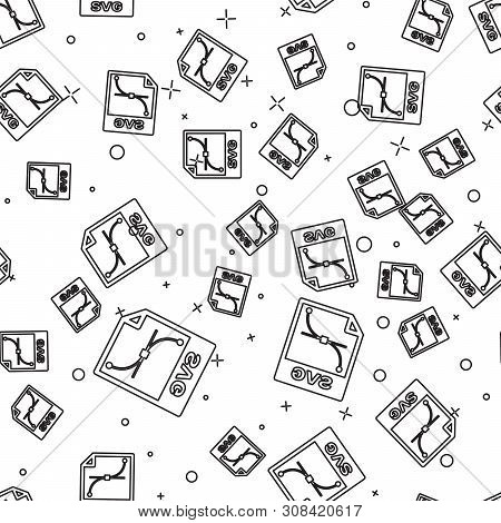 Black Svg File Document Icon. Download Svg Button Icon Isolated Seamless Pattern On White Background