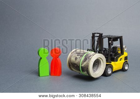 Yellow Forklift Truckcarries A Large Bundle Of Dollars, A Customer And Seller. Investments, Preferen