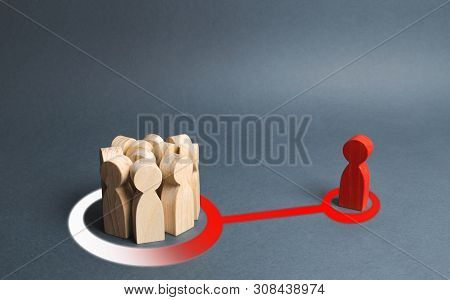The Red Figure Of A Person Influences A Crowd Of People. Expressing Your Own Opinion, Turning To You