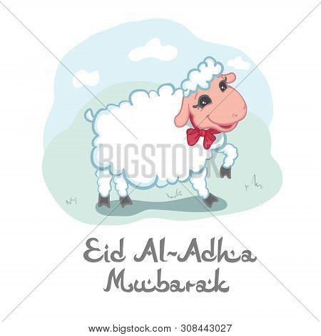 Eid Al-adha Mubarak Card Design With Cute Little Woolly White Sacrificial Lamb Wearing A Red Ribbon