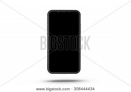 New Smartphone. Phone Isolated On White Background. Cell Phone With Touchscreen. Black Modern Realis