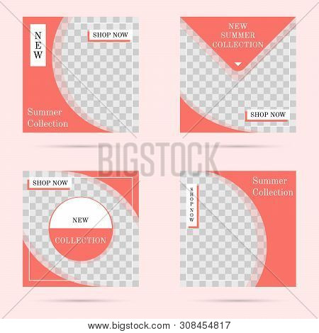 Social Media Post Templates, Trendy Living Coral Color. Editable Media Banners Collection. Transpare