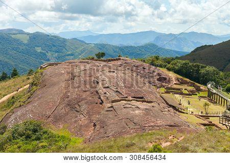 Traces And Remnants Of An Ancient Civilization. Archaeological Site Of El Fuerte De Samaipata, Boliv