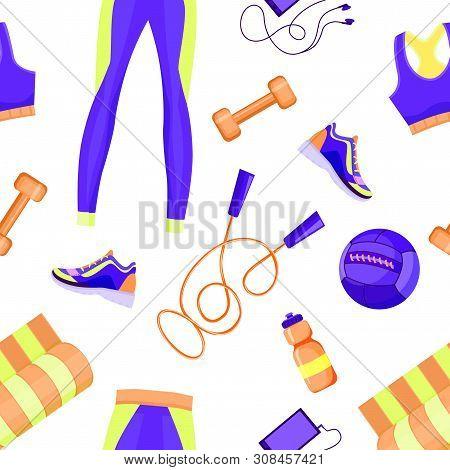 Female Sport Equipment Seamless Pattern Vector Illustartion, Med Ball, Bra, Leggins, Mat, Dumbbells,