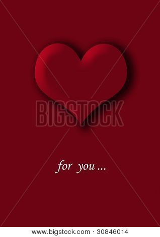 Red heart on a red background. For you.