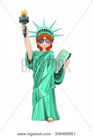Girl Wearing The Statue Of Liberty And Sunglasses In The Colors Of The Us Flag. Red-haired Girl Dres