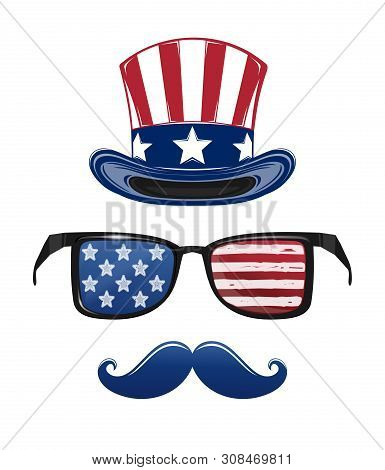 Usa Independence Day Icon Set. 4th Of July. Fourth Of July. Star-striped Sunglasses, Uncle Sams Hat,