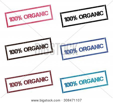 100% Organic Rectangular Stamp Collection. Textured Seals With Text Isolated On White Backgound. Sta