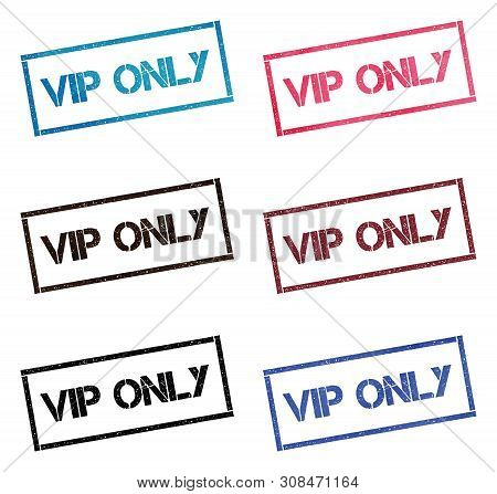 Vip Only Rectangular Stamp Collection. Textured Seals With Text Isolated On White Backgound. Stamps