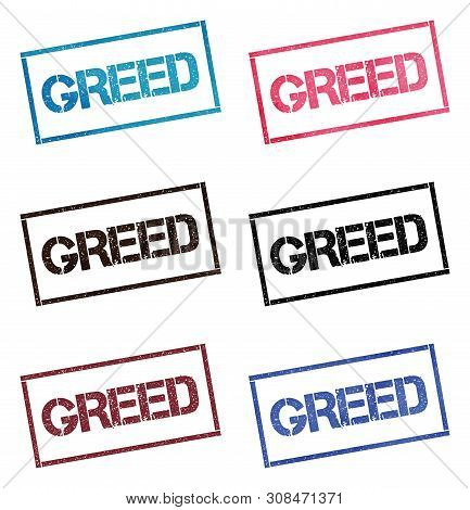 Greed Rectangular Stamp Collection. Textured Seals With Text Isolated On White Backgound. Stamps In