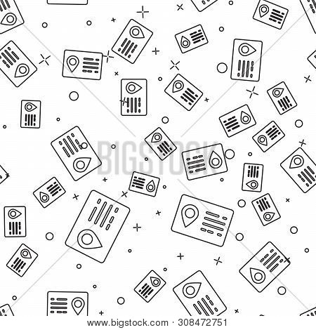 Black Address book line icon isolated seamless pattern on white background. Telephone directory. Vector Illustration poster