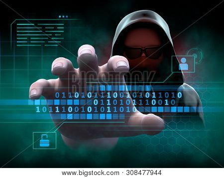 Mysterious hacker tries to gain access to personal data. 3D illustration.