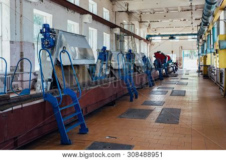 Urban Wastewater Treatment Plant. Machinery For Sewage Filtration From Solid Impurities.