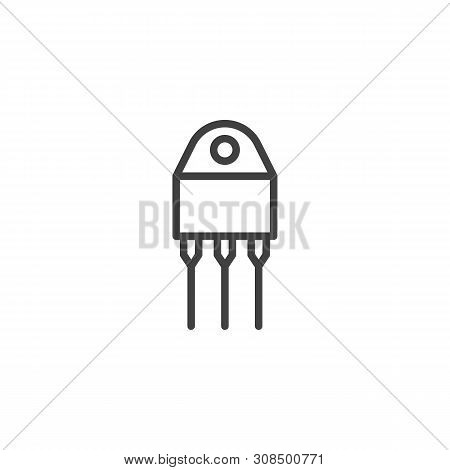 Transistor Chip Line Icon. Semiconductor Device With Three Connections Linear Style Sign For Mobile