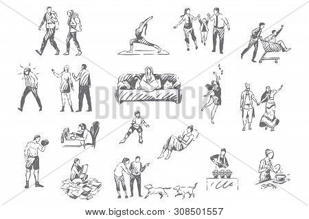 People Lifestyle, Personal Leisure Concept Sketch. Introvert And Extrovert Pastime, Hiking, Fitness