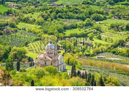 Landscape Near Montepulciano Town In Tuscany Region Of Italy, Europe.