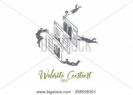 Website Content Concept Sketch. Flying Businessmen And Businesswomen Teamwork, Internet Blogging Bus