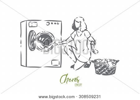 Chores concept sketch. Woman unloading laundry. Helping around the house. Washing dirty clothes. Using washing machine at home. Household responsibilities. Isolated vector illustration poster