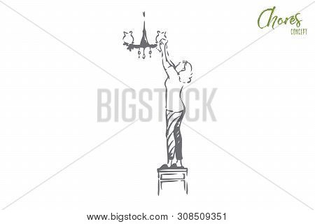 Chores concept sketch. Housewife routine, housekeeper, maid work, faceless young homemaker wipes dust from chandelier, woman doing housework, housekeeping banner. Isolated vector illustration poster