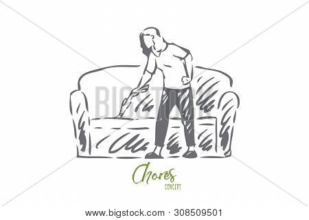 Living room cleanup concept sketch. Housewife chores, housekeeper work, faceless young woman cleaning couch with portable vacuum cleaner, homemaker routine banner. Isolated vector illustration poster