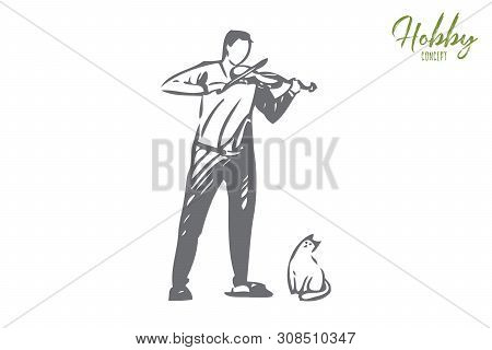 Violinist Concept Sketch. Man Playing Violin. Amateur Classical Musician, Funny Cute Cat. Creating M