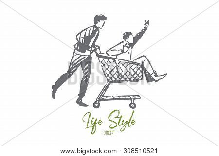Life Style Concept Sketch. Doing Crazy Things With Friends. Guys Riding Shopping Cart. Spending Qual