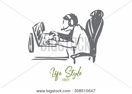 Cybersport athlete concept sketch. Spending free time in front of computer. Playing computer games. Addicted to videogames. Spending too much time online Isolated vector illustration poster