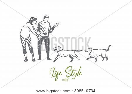 Dog Walking Concept Sketch. Outdoor Activity With Animals, Young Couple, Happy Pet Lovers Pastime, C