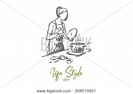 Maid Cooking Concept Sketch. Preparing Home Cooked Soup. Making Dinner For The Whole Family. Learnin