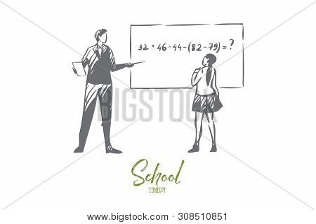 Math Lesson Concept Sketch. Girl Solving Maths Equation On Blackboard. Teacher Asking Student Questi