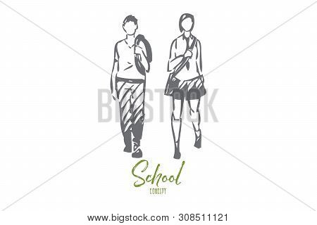 Schoolmates Concept Sketch. Teenagers Going Home After Class. Besties Walking To Lessons Together. F