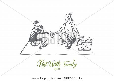 Park Resting Concept Sketch. Going Picnicking With Mom. Mother And Son Bonding Activity. Preparing S