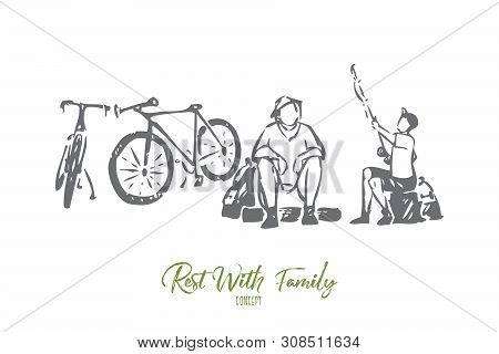 Rest With Family Concept Sketch. Going Fishing With Dad. Father And Son Bonding Activity. Getting Fi