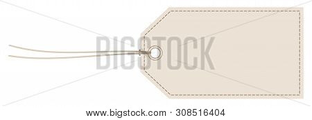 Horizontal Angled Hangtag Seam Beige With String
