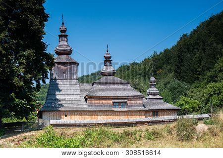 Old Wooden Greek Church In Mirola Village In North Slovakia