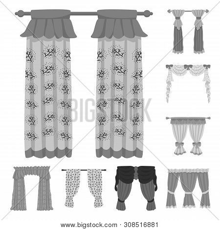 Isolated Object Of Interior And Cornice Symbol. Collection Of Interior And Drapes Stock Symbol For W