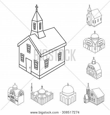 Vector Design Of Architecture And Building Icon. Collection Of Architecture And Clergy Stock Symbol