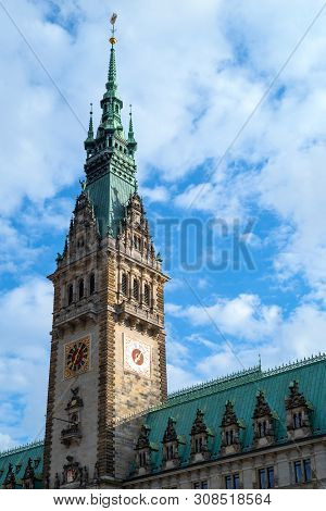 Germany, Hamburg, The Ancient Belltower Of The  Town Hall