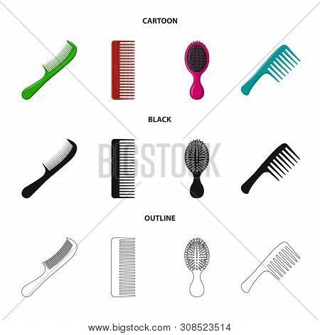 Vector illustration of brush and hair sign. Set of brush and hairbrush vector icon for stock. poster