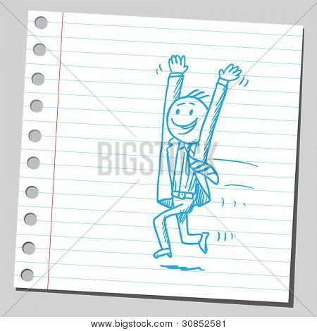 Very happy businessman running