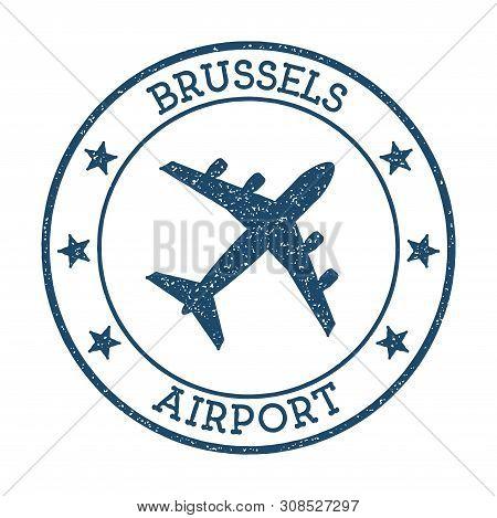 Brussels Airport Logo. Airport Stamp Vector Illustration. Brussels Aerodrome.