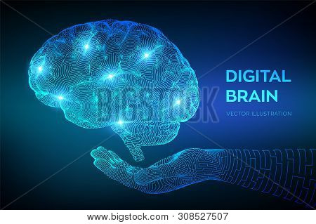Brain. Digital Brain In Hand. 3d Science And Technology Concept. Neural Network. Iq Testing, Artific