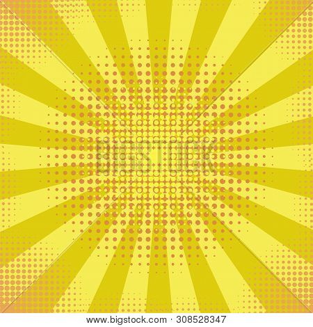 Yellow Retro Vintage Halftone Style Background With Sun Rays. Pop Art Desin Texture. Star Explosion