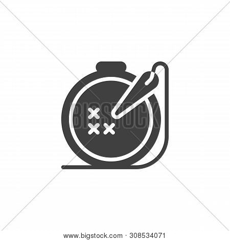 Needle And Embroidery Frame Vector Icon. Filled Flat Sign For Mobile Concept And Web Design. Handmad