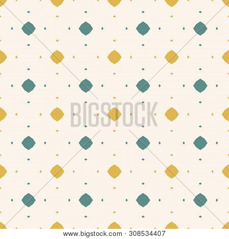 Vector Abstract Colorful Seamless Pattern. Retro Style Ornamental Background. Yellow, Teal And Beige