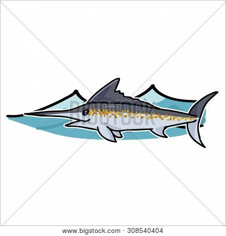 Cute Ocean Marlin With Wave Cartoon Vector Illustration Motif Set. Hand Drawn Isolated Sea Life Swor