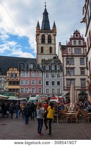Trier, Germany- September 29: People At Market Square In Trier, Germany, On September 29, 2012. Trie